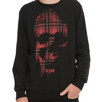 RUDE Plaid Skull Crewneck Pullover