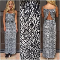 Carved In Stone Tribal Print Maxi Dress