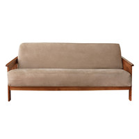 Beige Full-size Futon Cover in Soft Woven Suede
