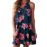 Fashion Women Floral Dress Bohemian Off Shoulder Dress Spaghetti Strap Beach Summer Sundress Loose Casual Vestidos Mujer 2017