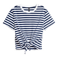 Tie-front T-shirt - from H&M