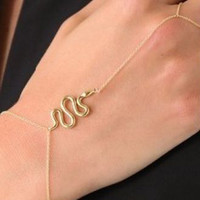 Gold Snake Curb Chain Finger Ring Bracelet