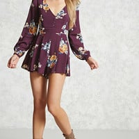 Pleated Floral Romper