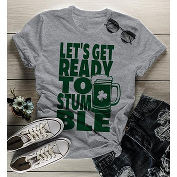 Women's Funny St. Patrick's Day T Shirt Get Ready To Stumble Shirts Party Drinking Tee Graphic