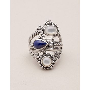 Vintage Moonstone and Lapis Lazuli Silver Ring - Sizes 6 and 7