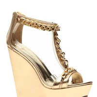 Breckelles Metallic Gold Chain Wedge @ Cicihot Wedges Shoes Store:Wedge Shoes,Wedge Boots,Wedge Heels,Wedge Sandals,Dress Shoes,Summer Shoes,Spring Shoes,Prom Shoes,Women's Wedge Shoes,Wedge Platforms Shoes,floral wedges
