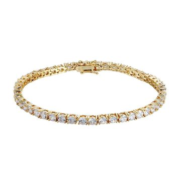 Designer 4mm Solitaire 14k Gold Finish Fashion Tennis Link Bracelet