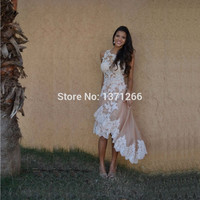 Gorgeous High Low Cocktail Dresses With Appliques Lace Short Front Long Back Party Dresses Free Shipping