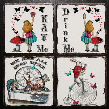Alice in Wonderland coaster on distressed wooden tablet Alice in Wonderland Decor Alice in Wonderland Party Mad Hatter Party Drink Coaster