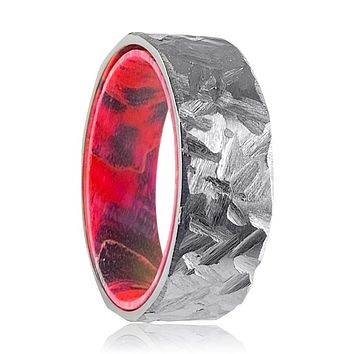 LIGON Silver Hammered Titanium Ring with Black and Red Box Elder Wood Ring