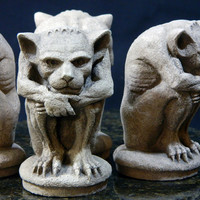 Pair of Small Irving Gargoyles, Gothic statues NYC-Cast Stone Sculpture, gift idea,  Handmade collectible
