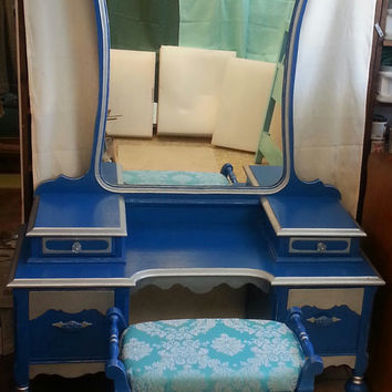 Circa 20's Antique Vanity Royal Blue Silver Salvaged Shabby Chic Dressing Table Distressed Refinished WHAGN