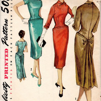 50s Fancy Cocktail Party Dress Sheath Dart Fitted Simplicity 1772 Sewing Pattern Back Bustle Shaped Waist Unique Fit Size 16 Bust 36