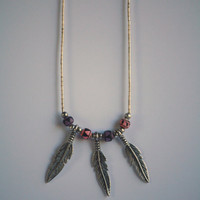 Vintage Silver Beaded Tribal Necklace with Three Feathers - Native