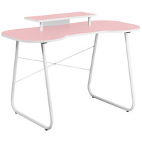 Pink Computer Desk with Monitor Stand and White Frame