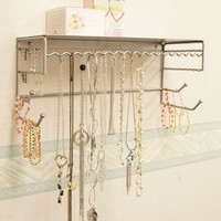 "Silver 17"" Wall Mount Jewelry & Accessory Storage Rack Organizer Shelf for Earrings, Bracelets, Necklaces, & Hair Accessories"