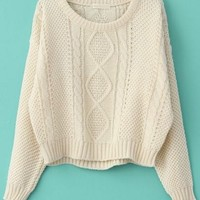 Fast shipping world Wide Beige Long Sleeve Cable Knit Pullover Sweater