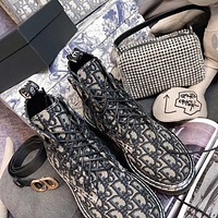 DIOR three-dimensional embroidered canvas and houndstooth canvas mid-short boots Shoes