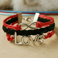 by (39boxes) Love Bracelet - infinity bracelet with love charm, red love bracelet for girlfriend, birthday gift