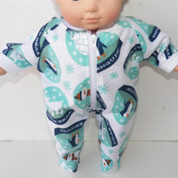 "Bitty Baby American Girl Doll Clothes 15"" Pumpkin White Turquoise Navy Blue Snowglobe Penguin Snowman Flannel Zip Up Pajamas Pjs Sleeper"