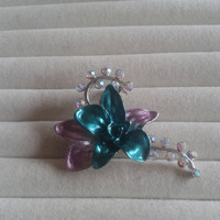 Closing sale - Pink and green  flower crystal  brooch pin