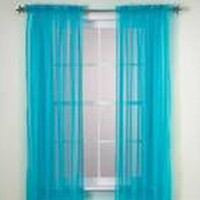 """Kate Elegance Set of 2 Sheer Curtain Panels 60"""" Wide x 84"""" Long - Turquoise"""