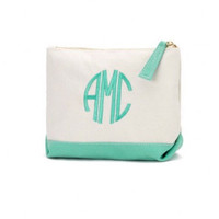 SALE Mint monogrammed cosmetic bag. Great gift and for bridesmaids