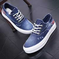 2016 Adult casual shoes women denim canvas rubber breathable lace-up platforms summer solid shoes for woman
