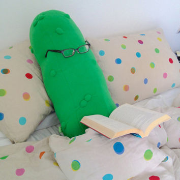 Giant Pickle Body Pillow - Monster Cucumber Cushion - Culinary Home Decor