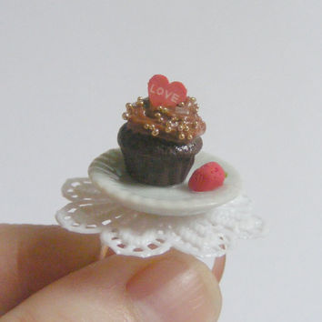 Scented or Unscented Love Cupcake Miniature Food Ring - Miniature Food Jewelry