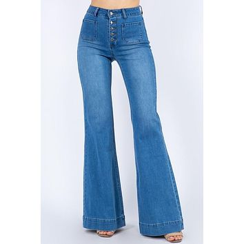 Button Down Bell Bottom Jeans