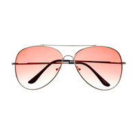 Womens Mens Fashion Large Silver Metal Aviator Sunglasses A1900