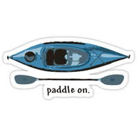 """'Blue Kayak with paddle illustration, and """"Paddle on"""" text' Sticker by PenToPixel"""
