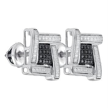 Sterling Silver Mens Round Black Color Enhanced Diamond Square Cluster Stud Earrings .03 Cttw - FREE Shipping (US/CAN)