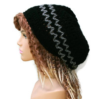 Black gray slouchy beanie, small dread tam hat, slouch beanie, smaller dreadlocks hat, black vegan man hat, woman beanie