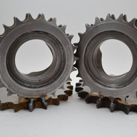 Bookends made from vintage Harley Davidson gears by IronGuerrilla