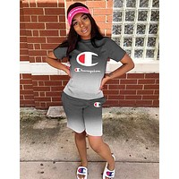 Champion Summer Hot Sale Woman Casual Print Short Sleeve Top Shorts Set Two Piece Sportswear Grey