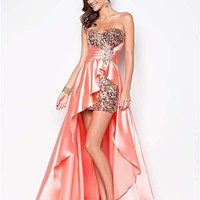 Tangerine Sequin & Satin Strapless Empire Waist Prom Dress - Unique Vintage - Cocktail, Pinup, Holiday & Prom Dresses.