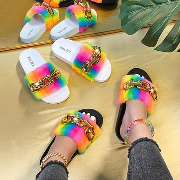 New casual fashion rainbow fur chain one-word sandals and slippers