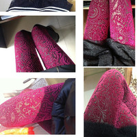 Hot Pink Shinny Velvet Vintage Silver Dots Sheer Lace Flower Floral Cut Slim Fit Leggings Tights Autumn Winter Size XS-M Pants (LGN-021)