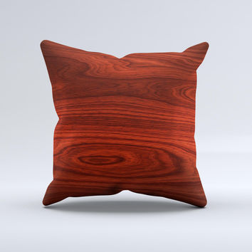 Rich Red Wood grain Ink-Fuzed Decorative Throw Pillow