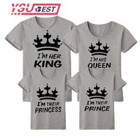 Cool New Family Look Mommy and Me Matching Outfits Clothes Father Mother Mom Daughter Son Boys Girls T-shirt King Queen tshirt SummerAT_93_12
