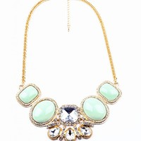 Oversize Oval and Square Faux Gem Stone Necklace in 2 Colors