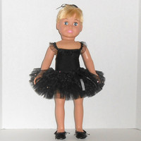 American Girl Doll Clothes Black and Silver Dance Outfit with Ruffled Leotard and Tutu