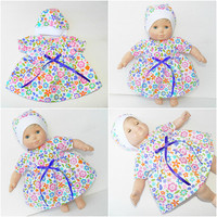 """Bitty Baby clothes, girl  15"""" twin doll, flannel flower nightgown & hat, handmade, purple pink blue white"""