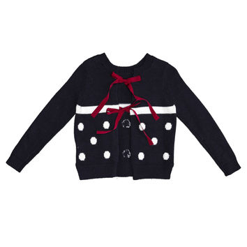 Monnalisa - Girls Open Back Long Sleeve Sweater With Red Tiebacks, Navy - 10Y