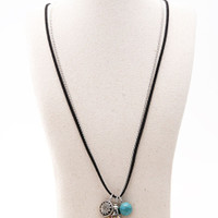 Multicolor Double Row Turquoise Ball And Coin Tasseled Necklace