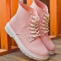 New Women Pink Round Toe Flat Lace-up Fashion Ankle Boots