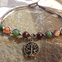 Shine On Tree  of Life Thin  Hemp Necklace Choker    wicca  hippie NEW