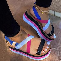 Summer new women's shoes color straps color matching increased thick-soled sandals
